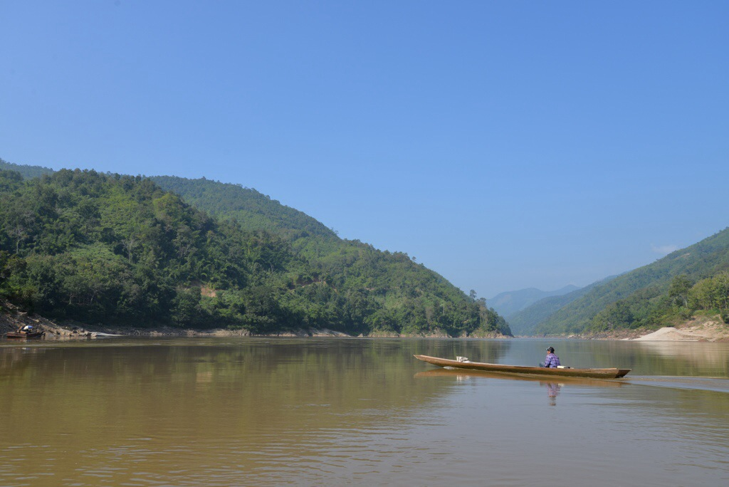 A local small boat on the Mekong