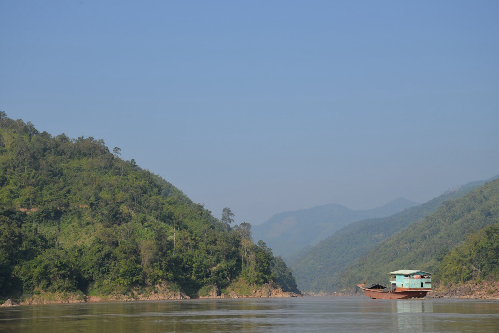 A cargo boat on the Mekong