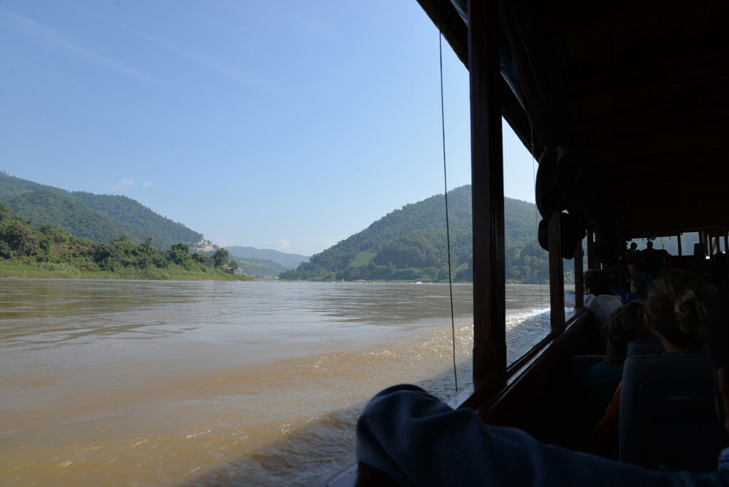 Looking out the window to beautiful Laos scenery.  Lots of this on the boat. Lots.