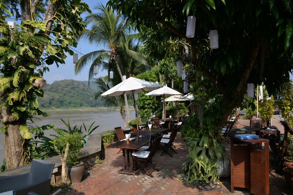 Restaurants and Cafes line the Mekong River, for laid back atmostphere