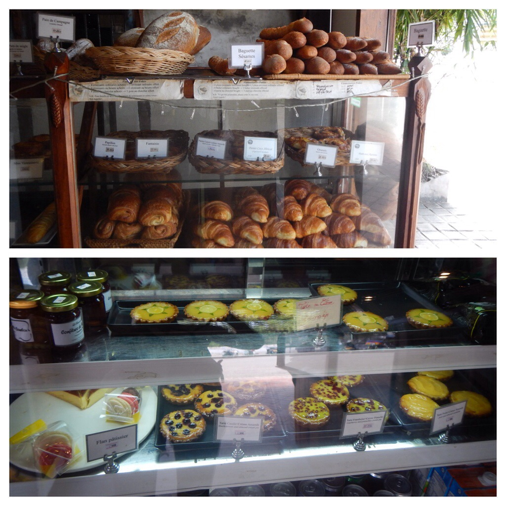 French pastries: fresh bread and desserts