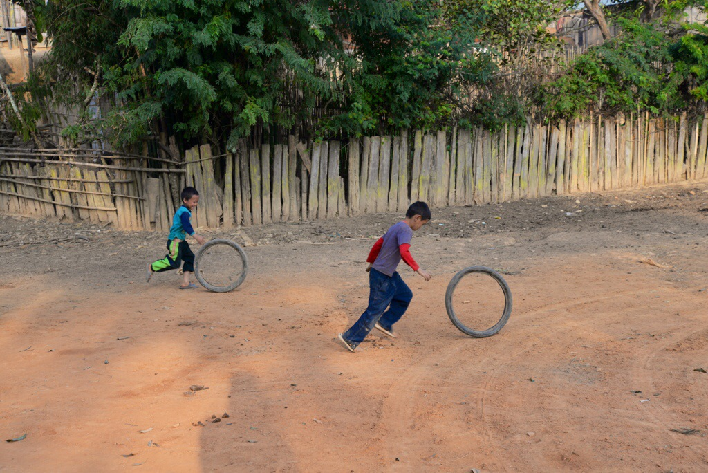 Kids playing with tires