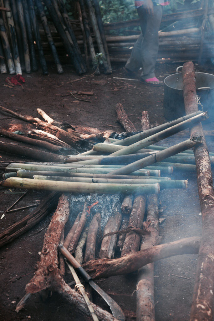 Chicken meat inside the bamboo over the fire